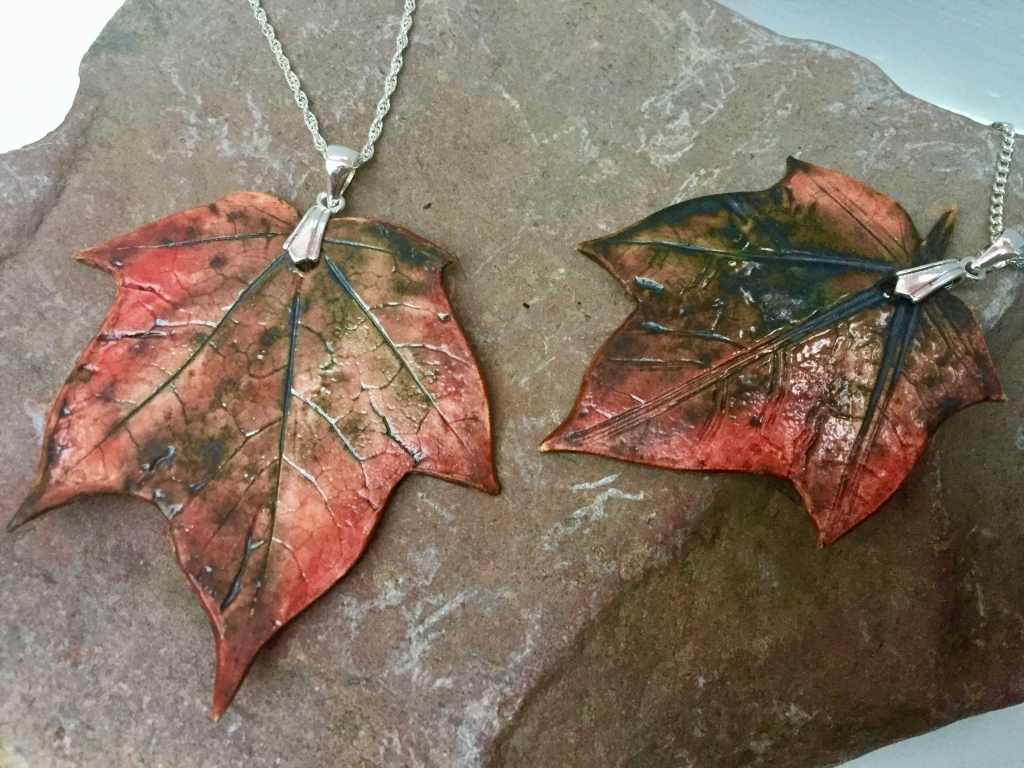 Canadian Maple Leaf Pendants made by Sonya Ceramic Art, Ceramics & Pottery Inspired By Nature