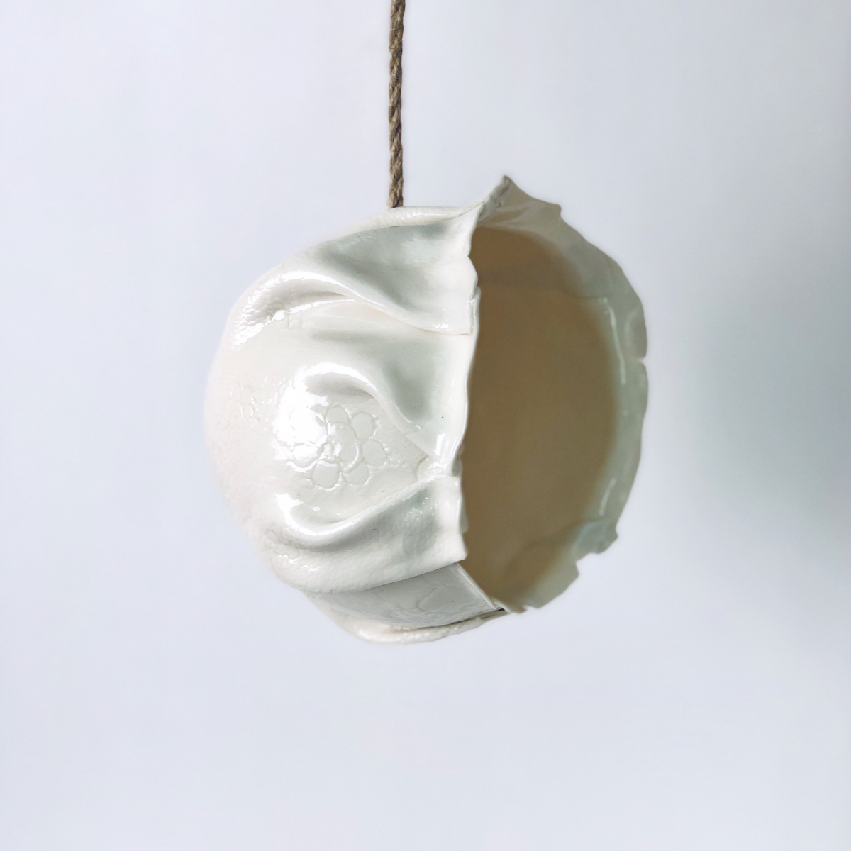 Empty Hanging Planter Suspended in Time by Sonya Ceramic Art