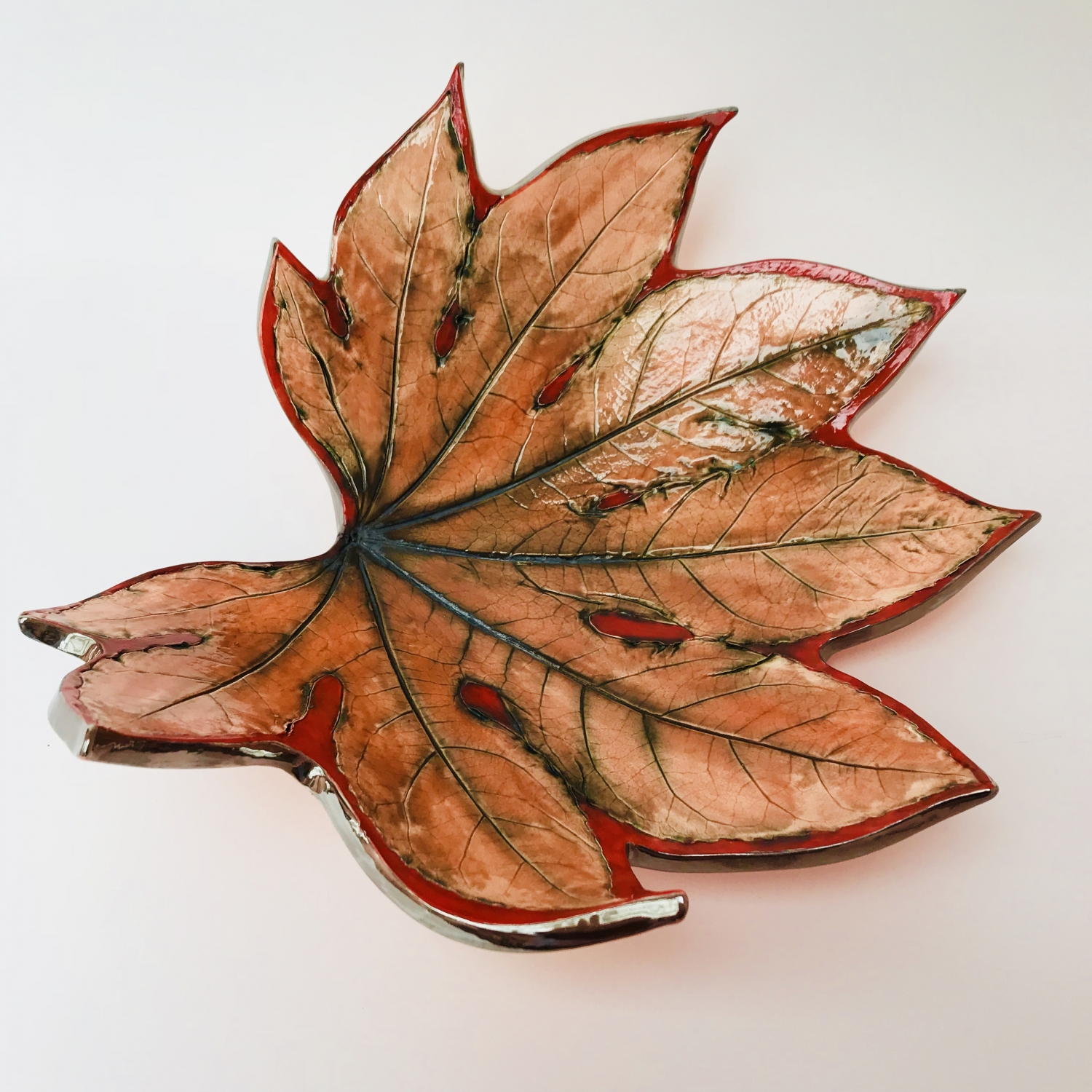 Fatsia Leaf Fruit Bowl edged with Platinum by Sonya Ceramic Art