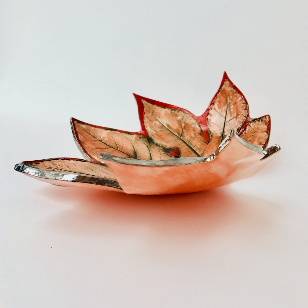 Fatsia Leaf Dish by Sonya Ceramic Art