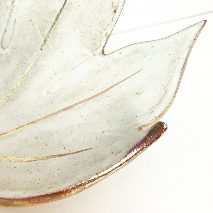 Fatsia Leaf Dish Close Up wtih Gold Lustre