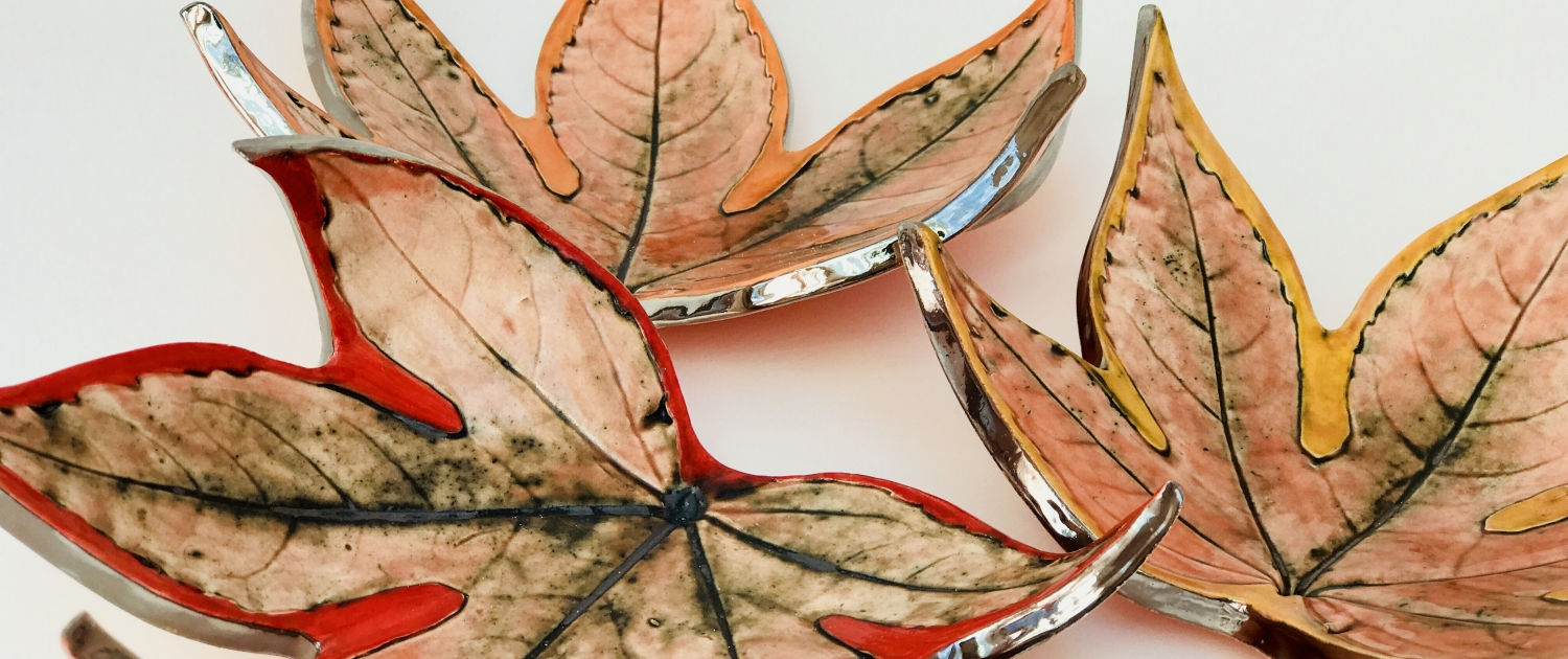 Ceramics & Pottery Inspired By Nature Fatsia Leaf Dishes by Sonya Ceramic Art
