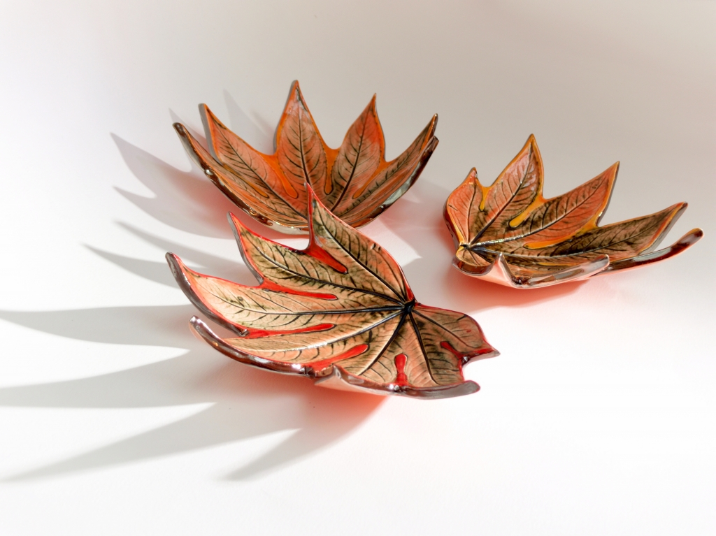 Fatsia Trinket Dishes with Shadows