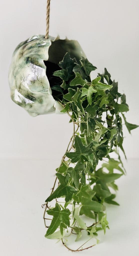 Ivy Hanging Planter Long Shot by Sonya Ceramic Art