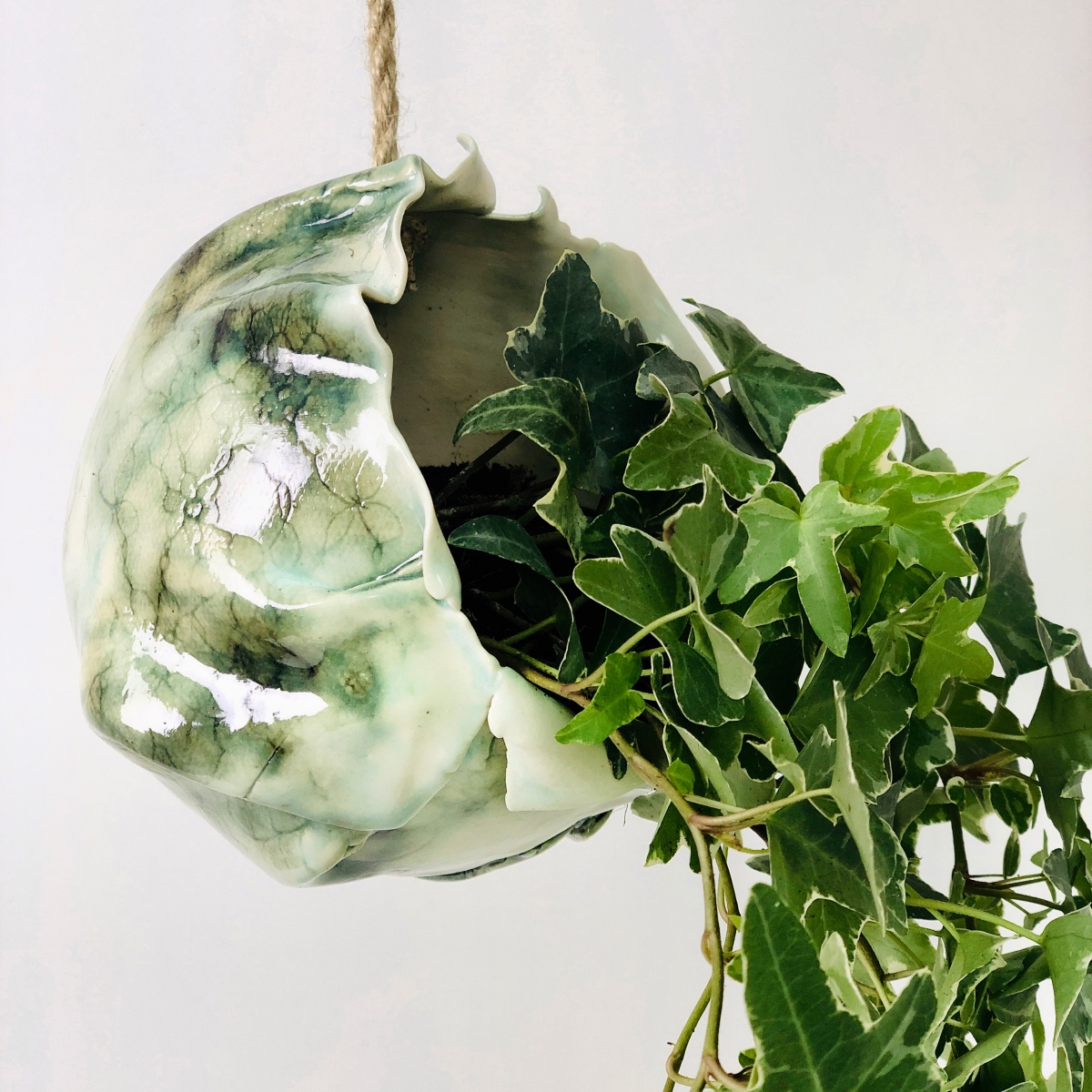 Ivy Hanging Planter Side Close Up by Sonya Ceramic Art