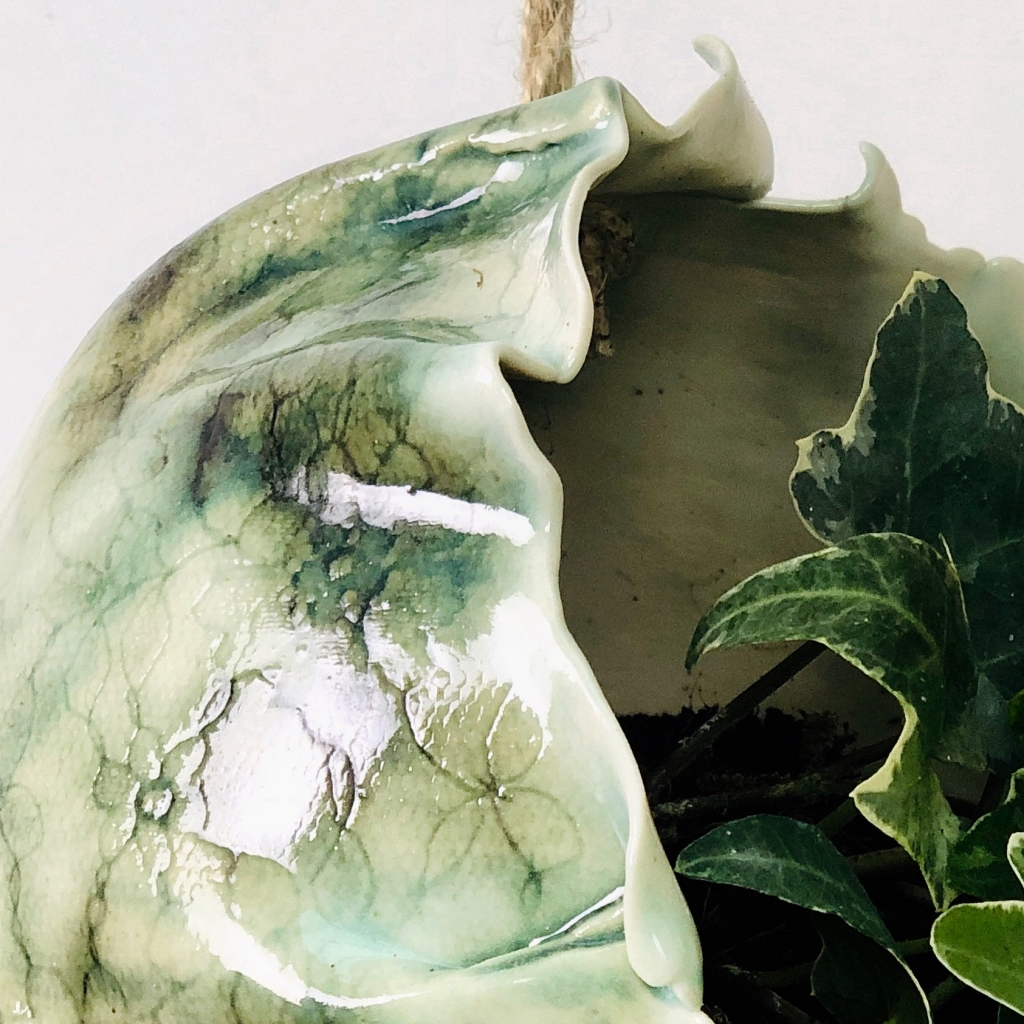 Lace Imprint Close Up Hanging Planter by Sonya Ceramic Art