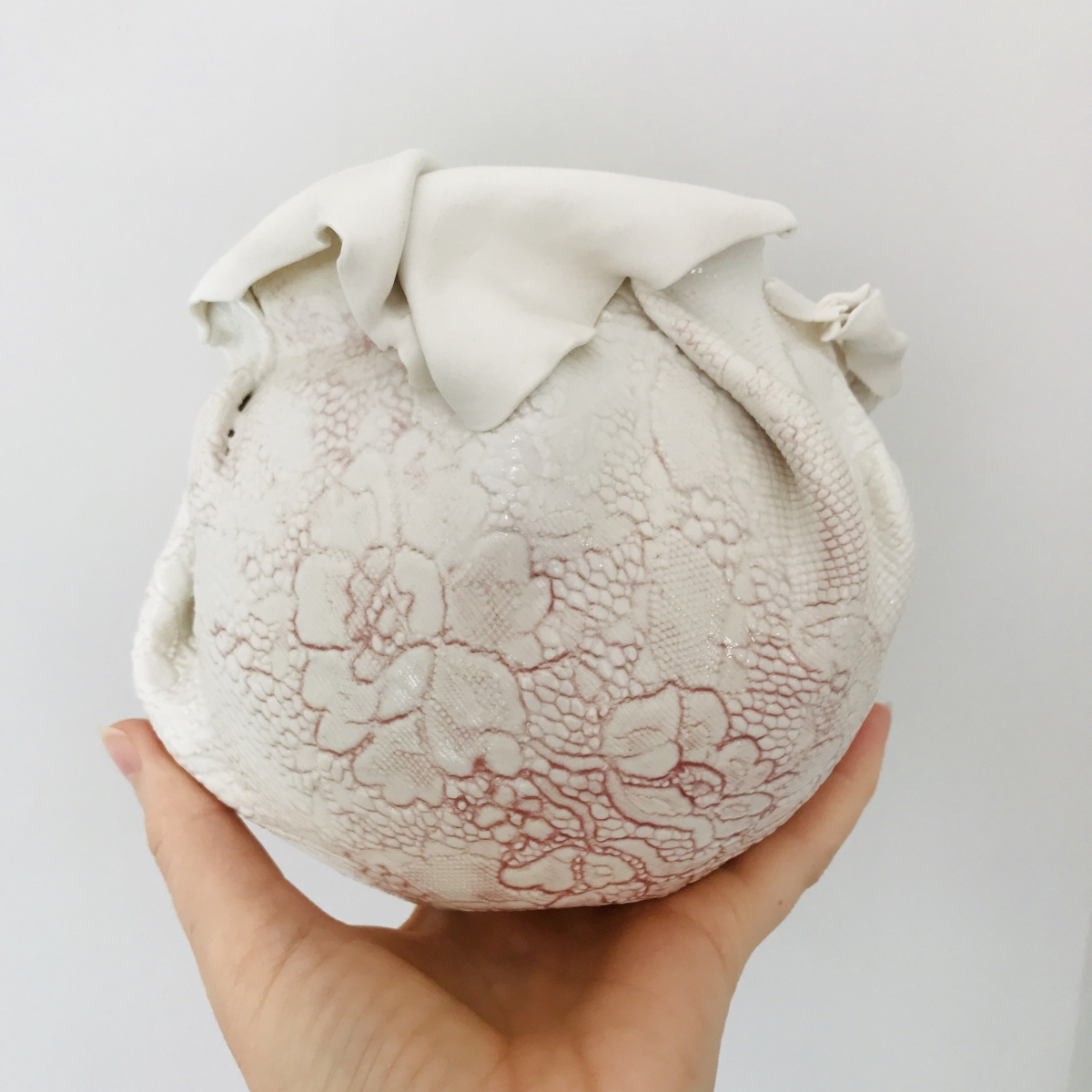 Porcelain Nest with Rose Glaze Detail by Sonya Ceramic Art