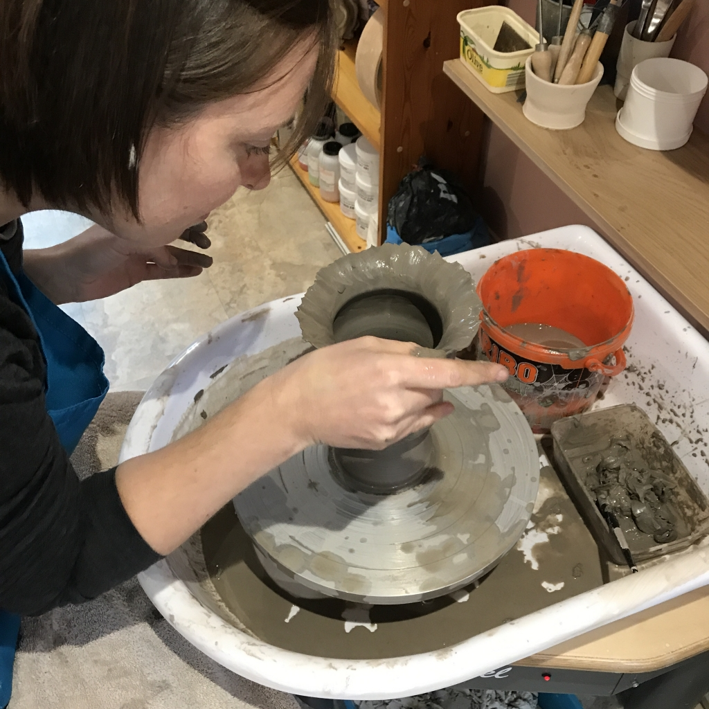 Pottery Student Throwing & Manipulating Clay at Sonya Ceramic Art