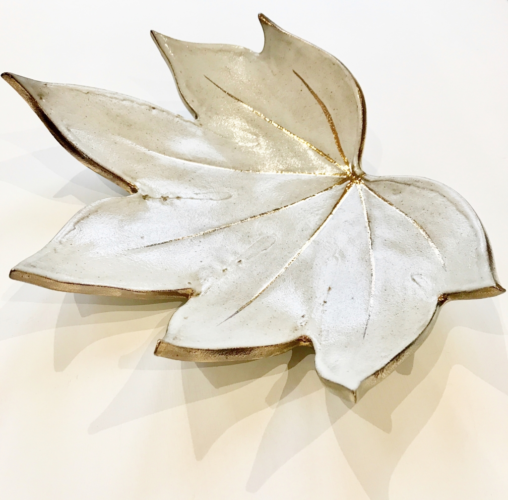 White & Gold Fatsia Leaf Fruit Bowl by Sonya Ceramic Art