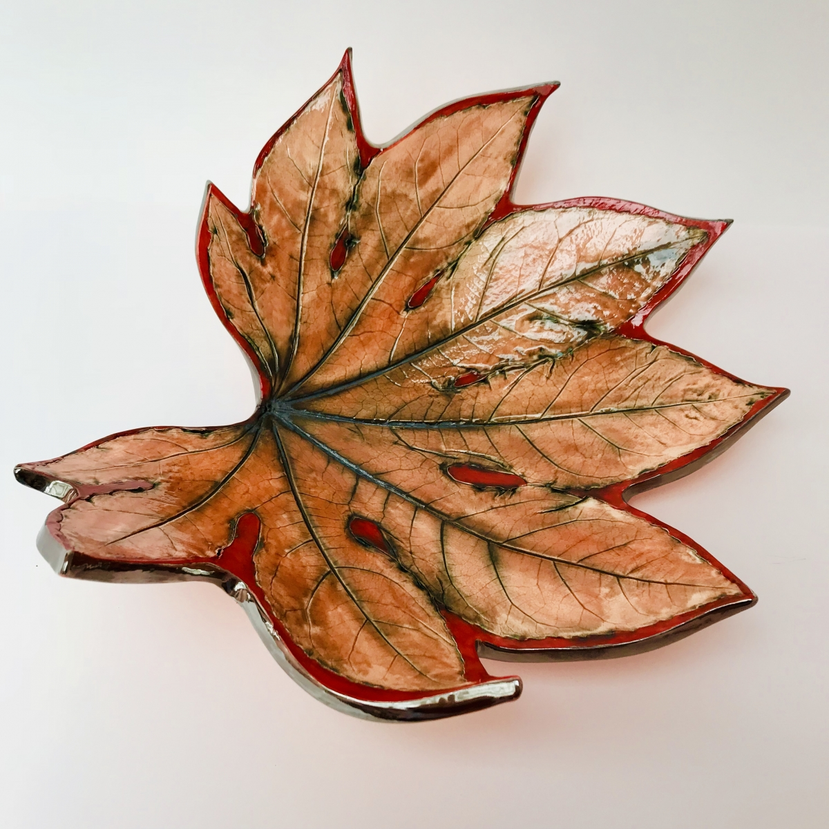Autumn Red Fatsia Leaf Fruit Bowl by Ceramics Inspired by Nature