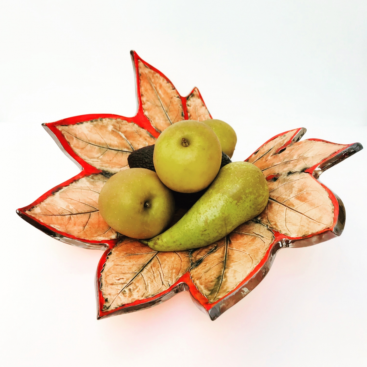 Autumn Red Fatsia Leaf Fruit Bowl with Fruit by Sonya Wilkins