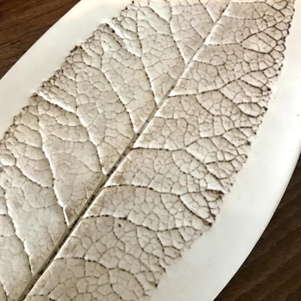Budleja Leaf Vein Detail on Porcelain Trinket Dish By Sonya Ceramic Art