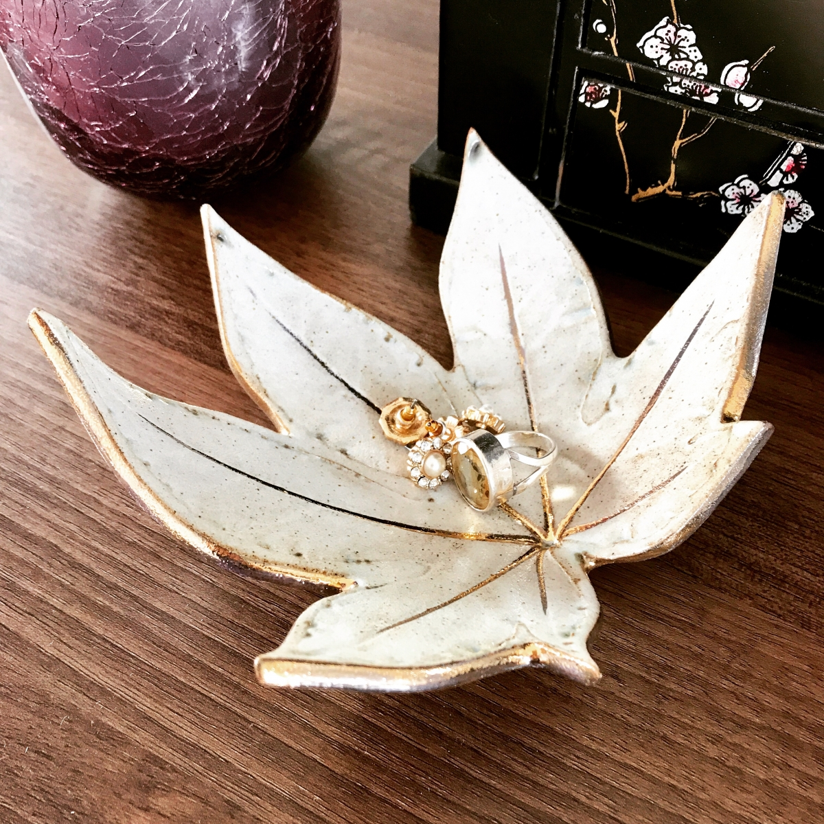 Fatsia Leaf Trinket Dish White & Gold by Sonya Ceramic Art