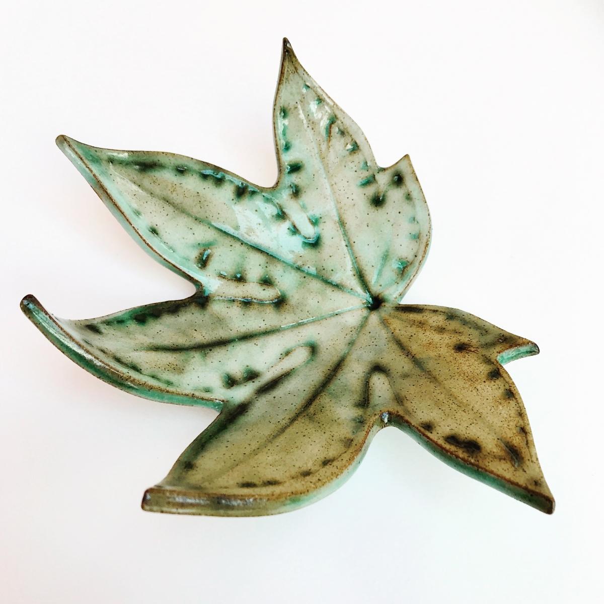 Fatsia Leaf Trinket Dish by Sonya Ceramic Art