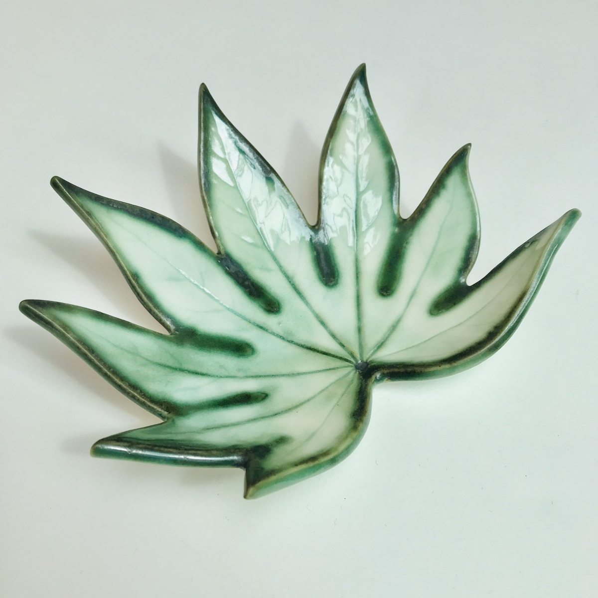 Fatsia Leaf Trinket Dish made in Porcelain by Sonya Ceramic Art