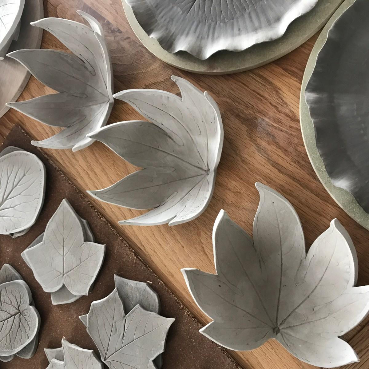 Fatsia Trinket Dishes by Sonya Ceramic Art 'In The Making'