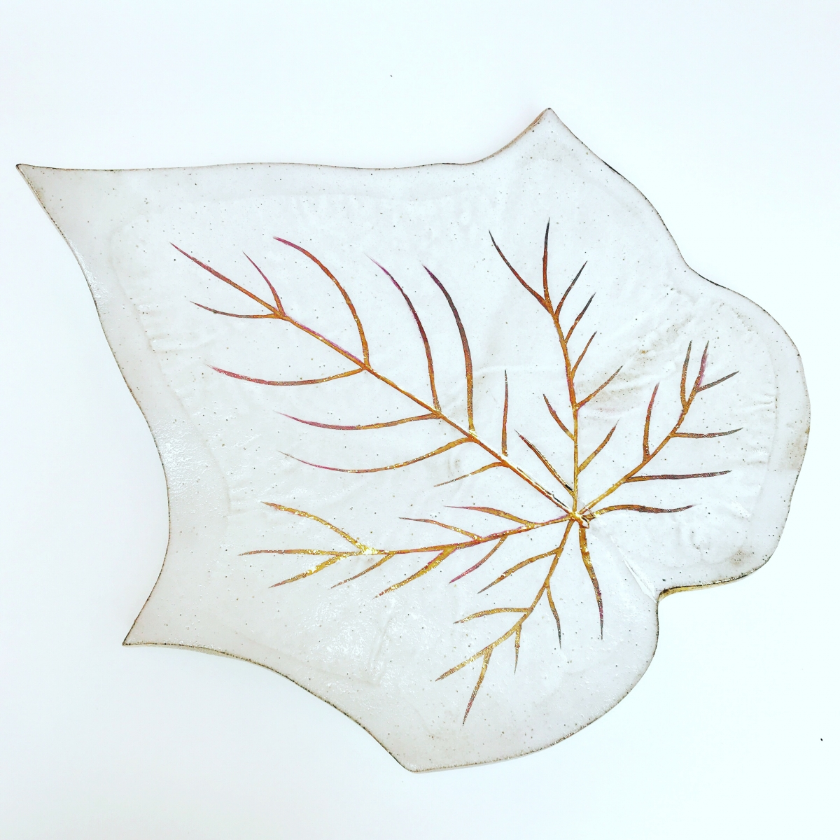 Glory Vine Leaf Serving Platter White & Gold by Sonya Ceramic Art