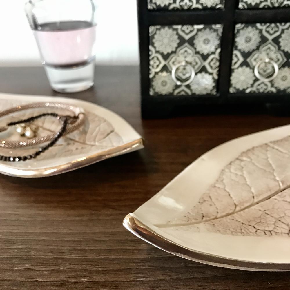 Gold Lustre Edging on Budleja Leaf Trinket Dishes