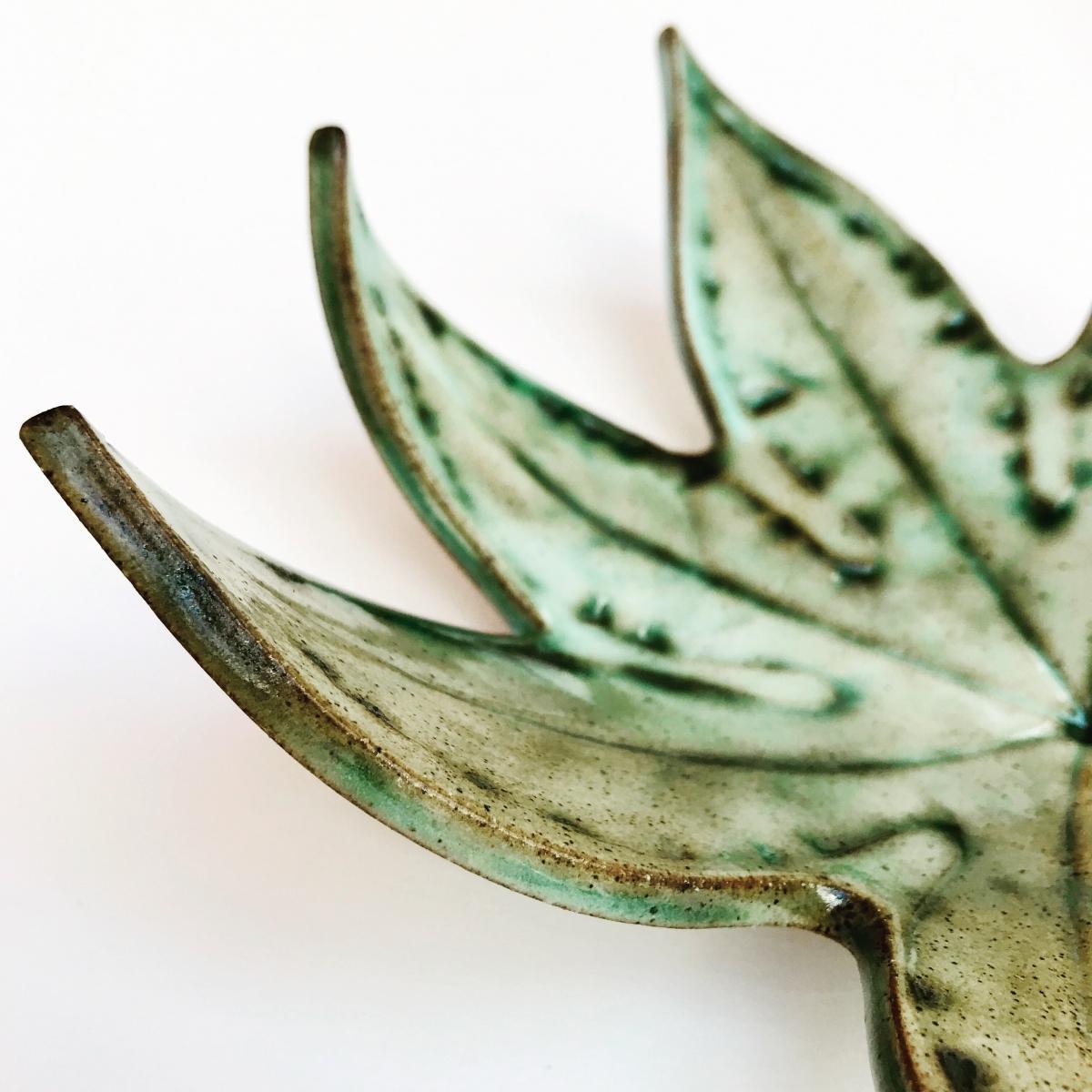 Green Fatsia Trinket Dish Rustic Edge Detail
