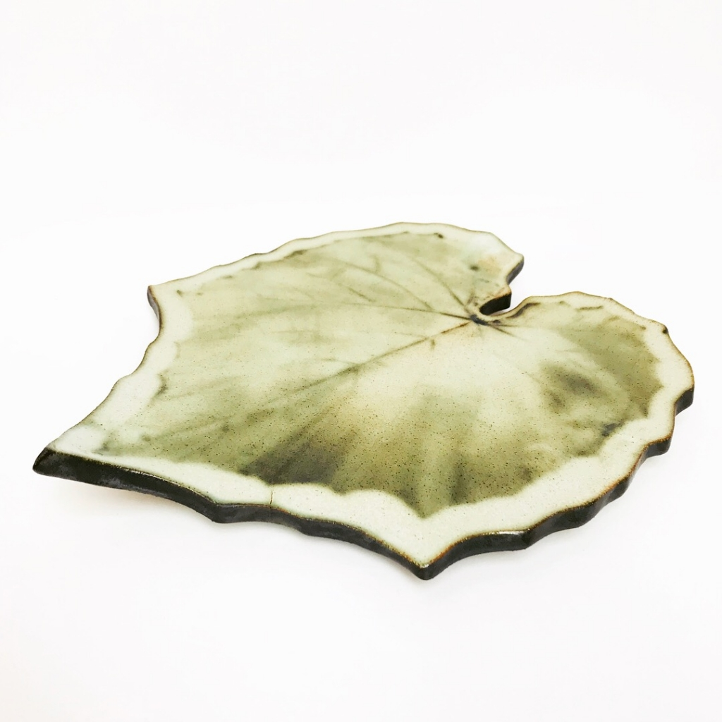 Green Glory Vine Leaf Serving Platter by Sonya Ceramic Art