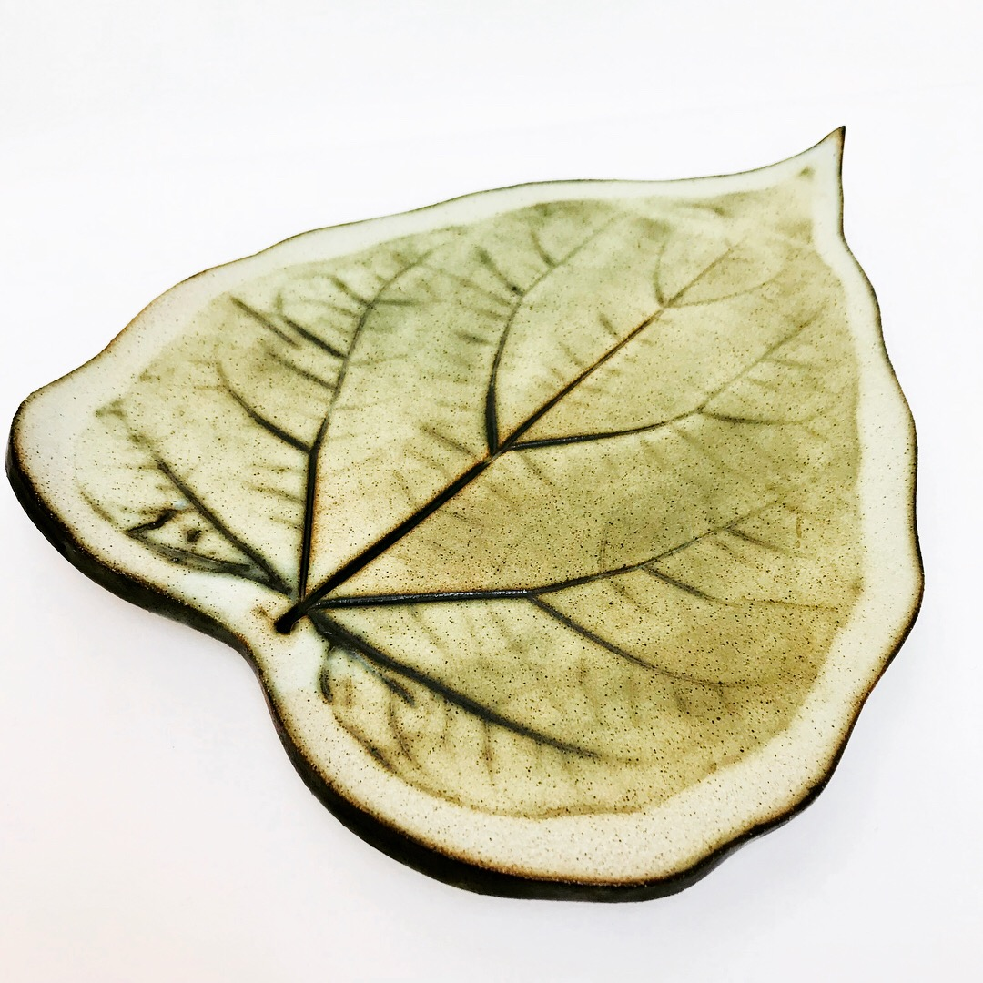 Green Leaf Serving Platter by Sonya Ceramic Art