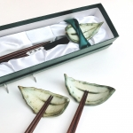 Leaf Chop Stick & Rest Set by Sonya Ceramic Art