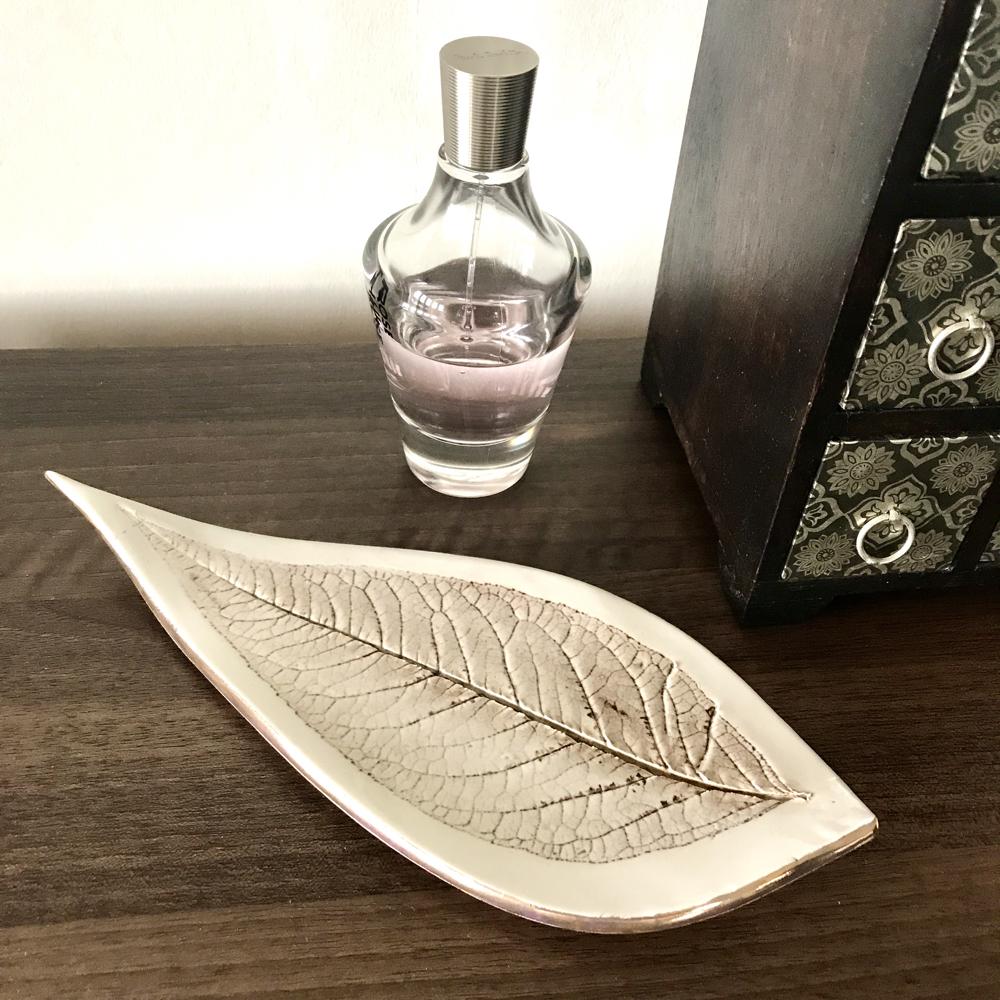 Porcleain Budleja Leaf Trinket Dish With Gold Lustre Edges By Sonya Ceramic Art