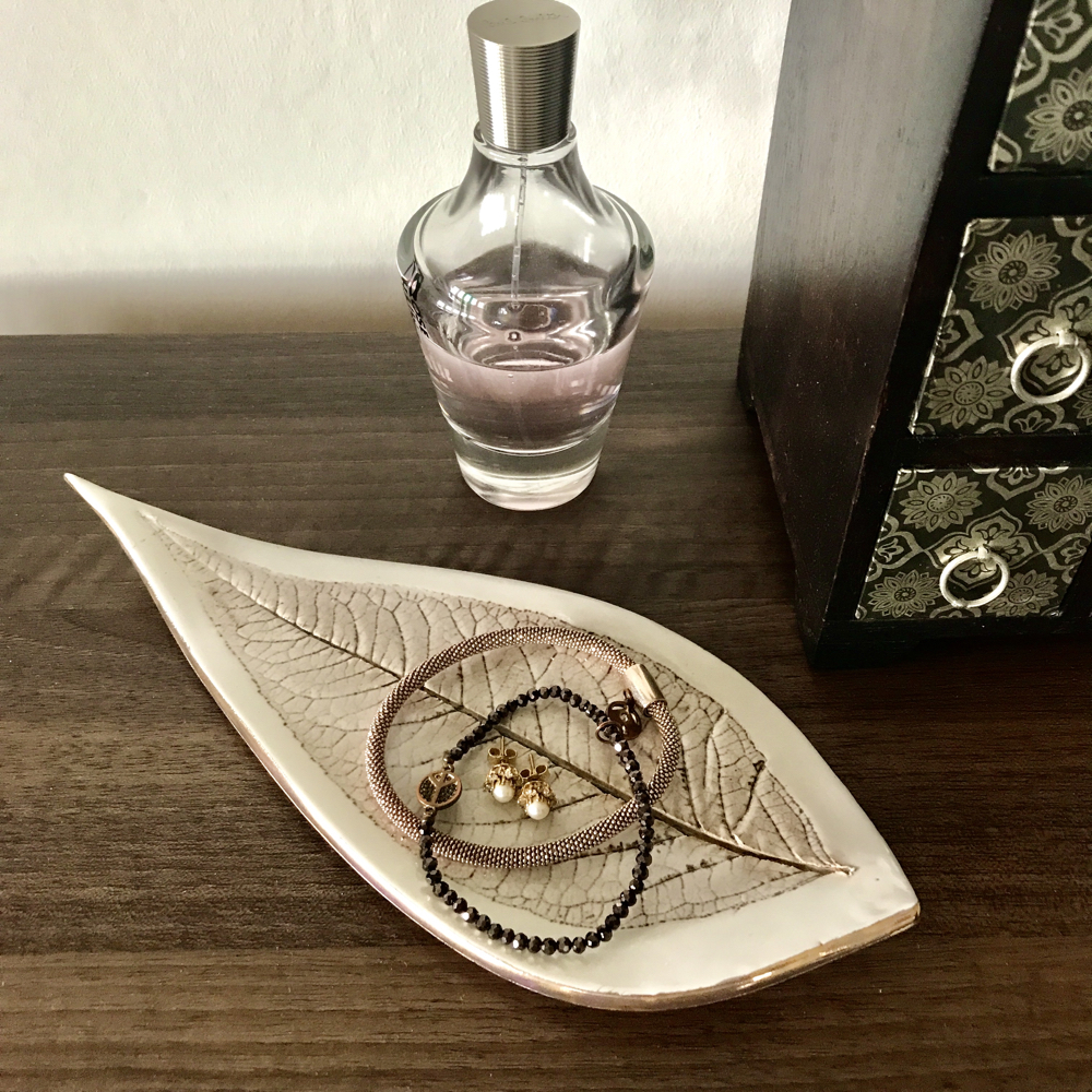 Porcleain Budleja Leaf Trinket Dish With Gold Lustre Edges Perfect For Jewellery By Ceramics Inspired By Nature