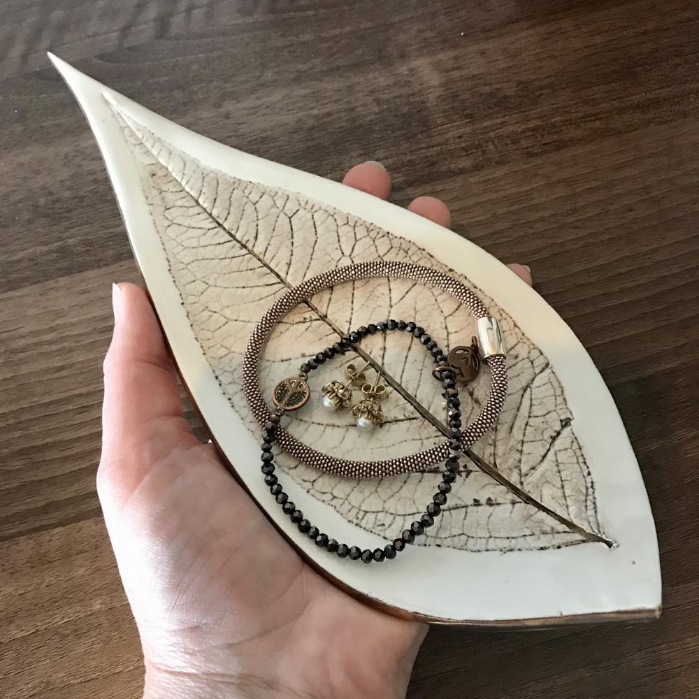 Size Of Budleja Leaf Trinket Dish By Sonya Ceramic Art