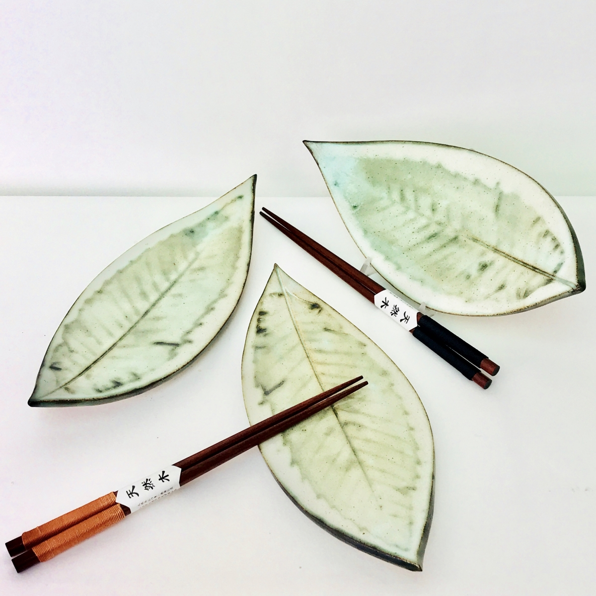 Sushi Leaf Dishes with chop sticks by Sonya Ceramic Art