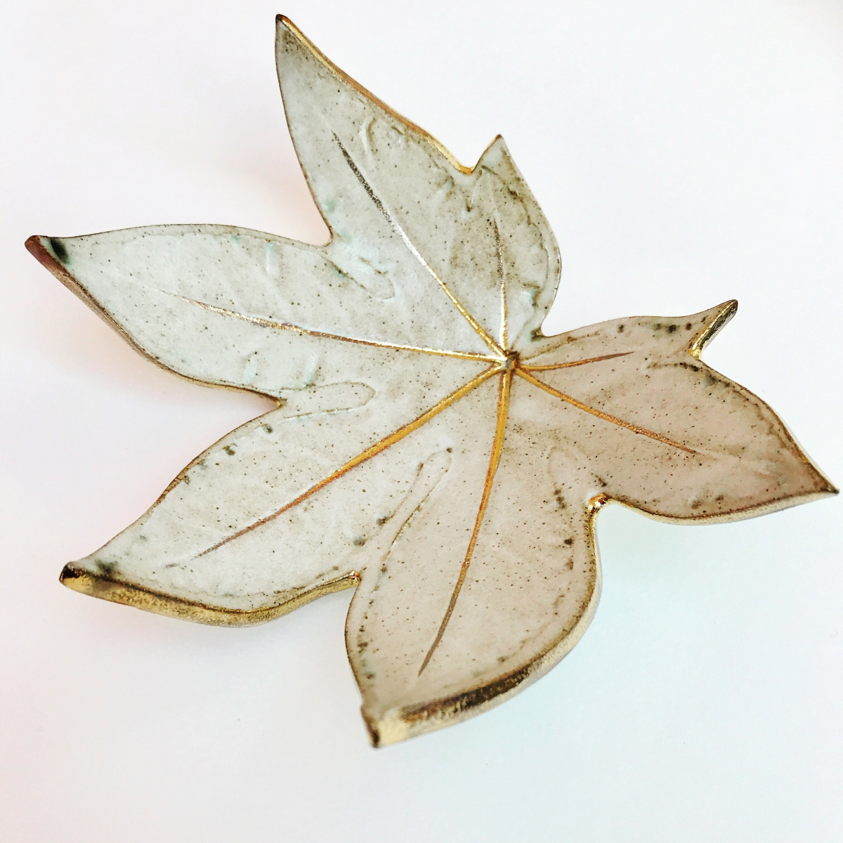 White Fatsia Leaf Trinket Dish by Sonya Ceramic Art