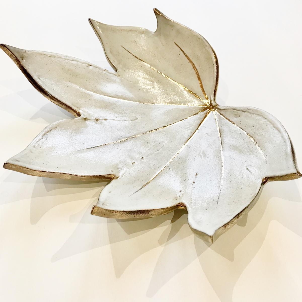 White & Gold Fatsia Leaf Fruit Bowl by Sonya Ceramic Art