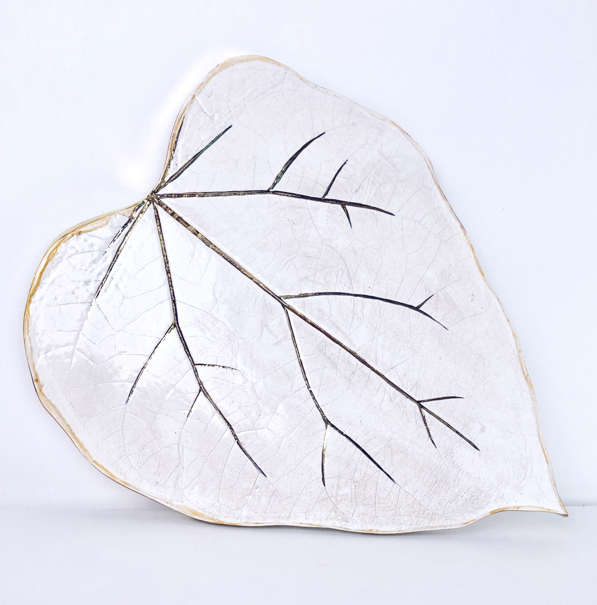 White Leaf Serving Platter by Sonya Ceramic Art