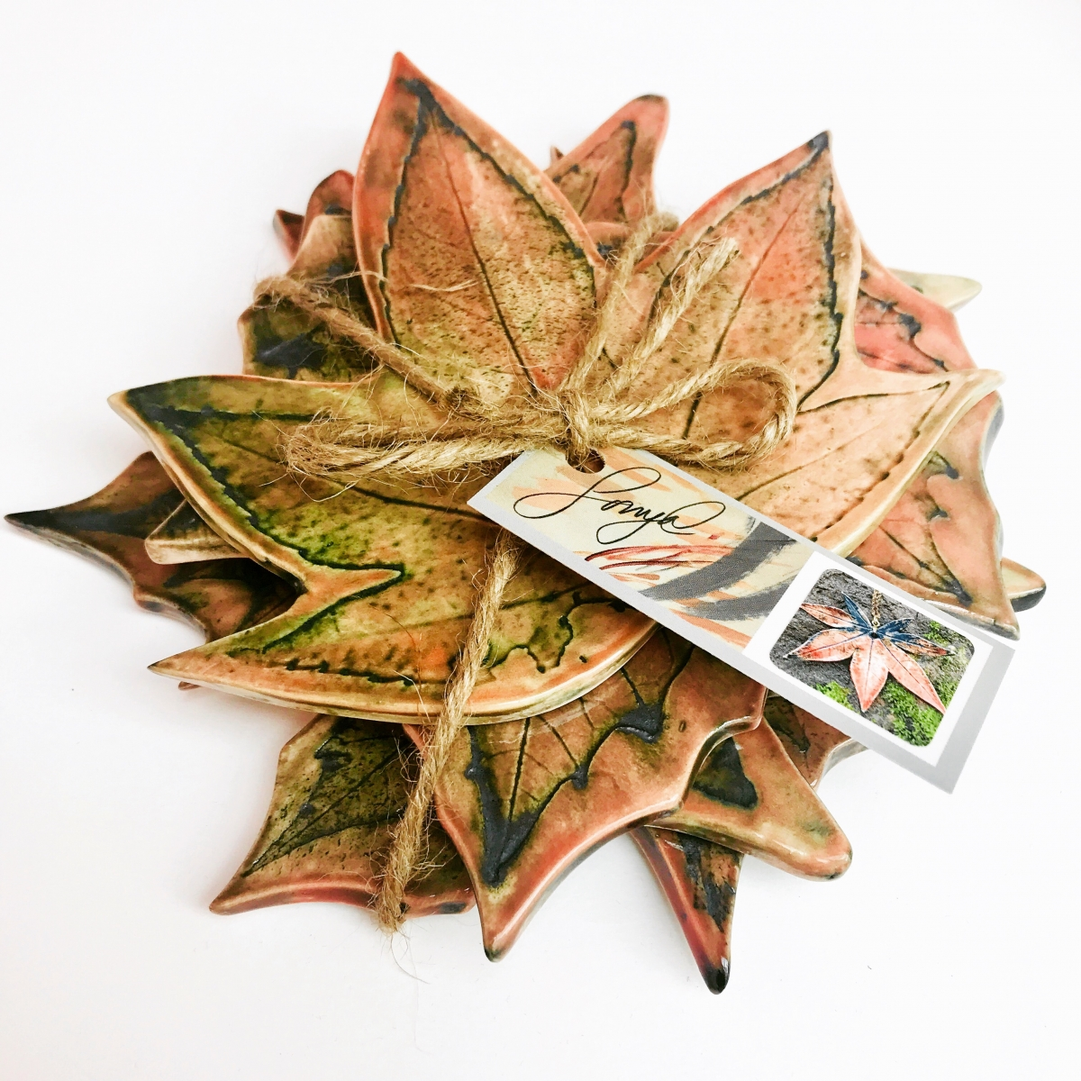 4 Pack Autumn Leaf Coasters by Sonya Ceramic Art