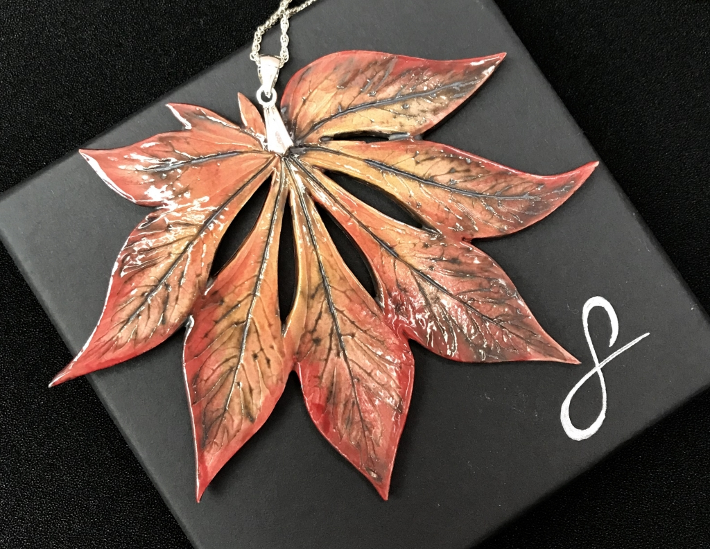 Full Moon Acer Leaf Pendant Fire Red by Sonya Ceramic Art