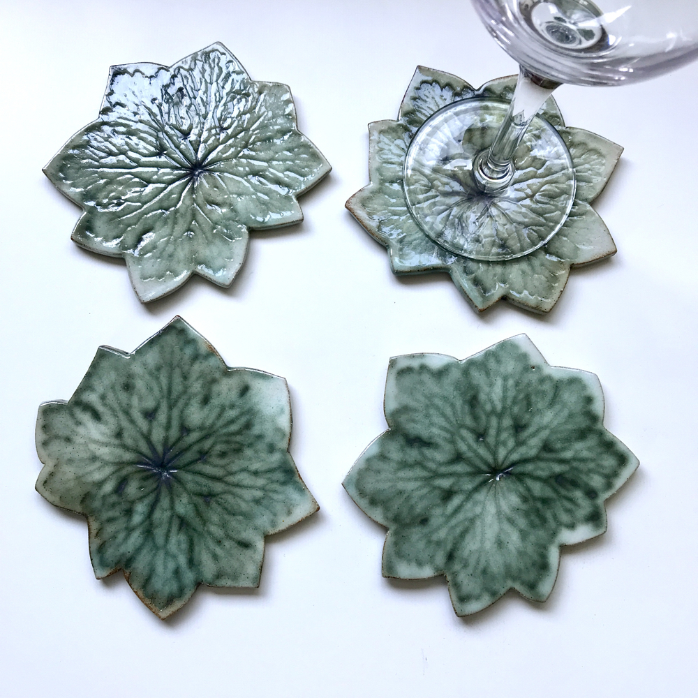 Geranium Leaf Coasters Perfect For Your Wine Glass By Sonya Ceramic Art