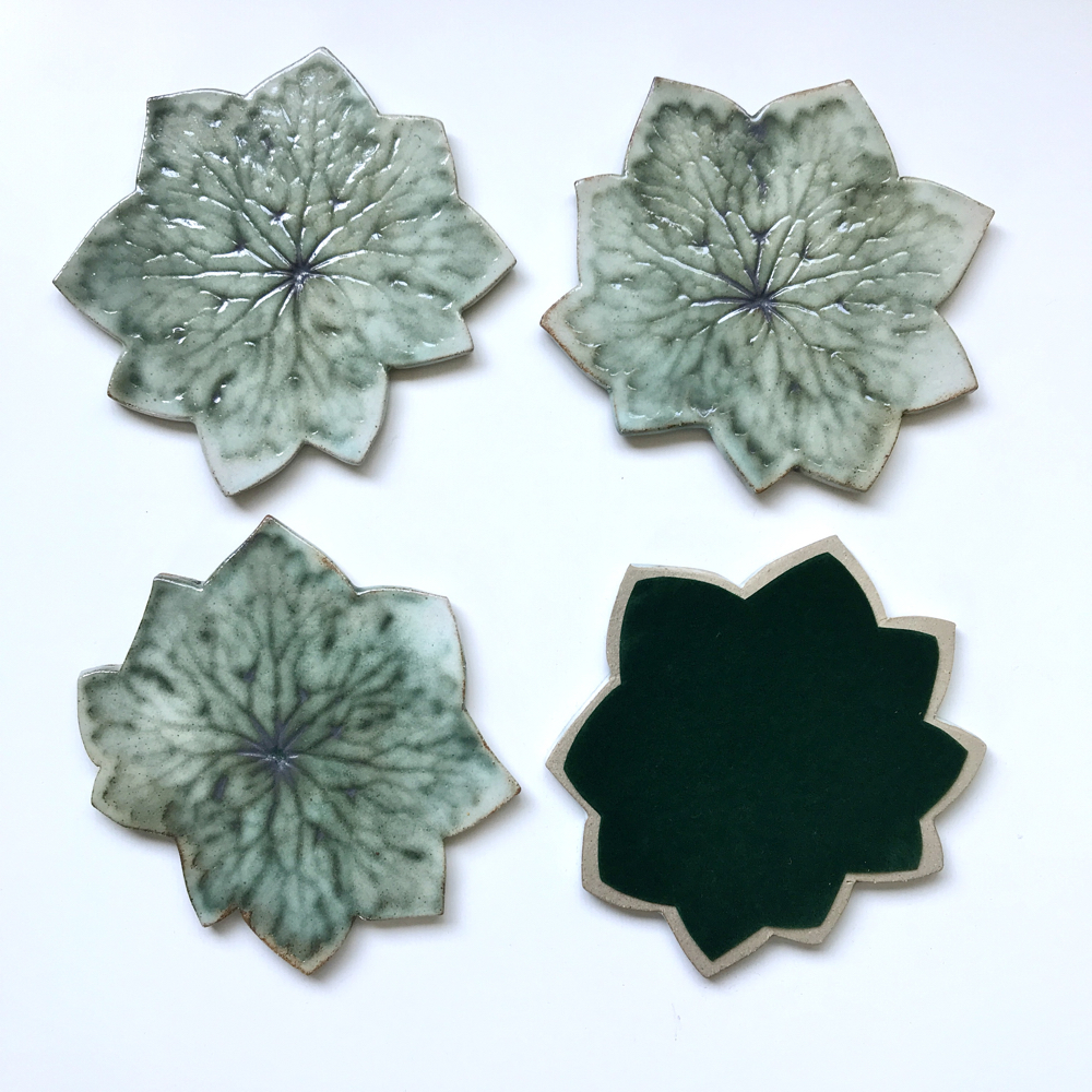Geranium Leaf Coasters With Felt Backing by Ceramics Inspired By Nature