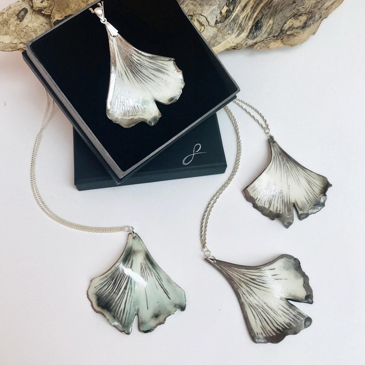 Ginkgo Leaf Pendant by Sonya Ceramic Art