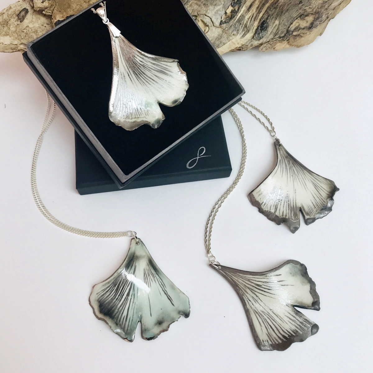 Ginkgo Leaf Pendant by Sonya Ceramic Art
