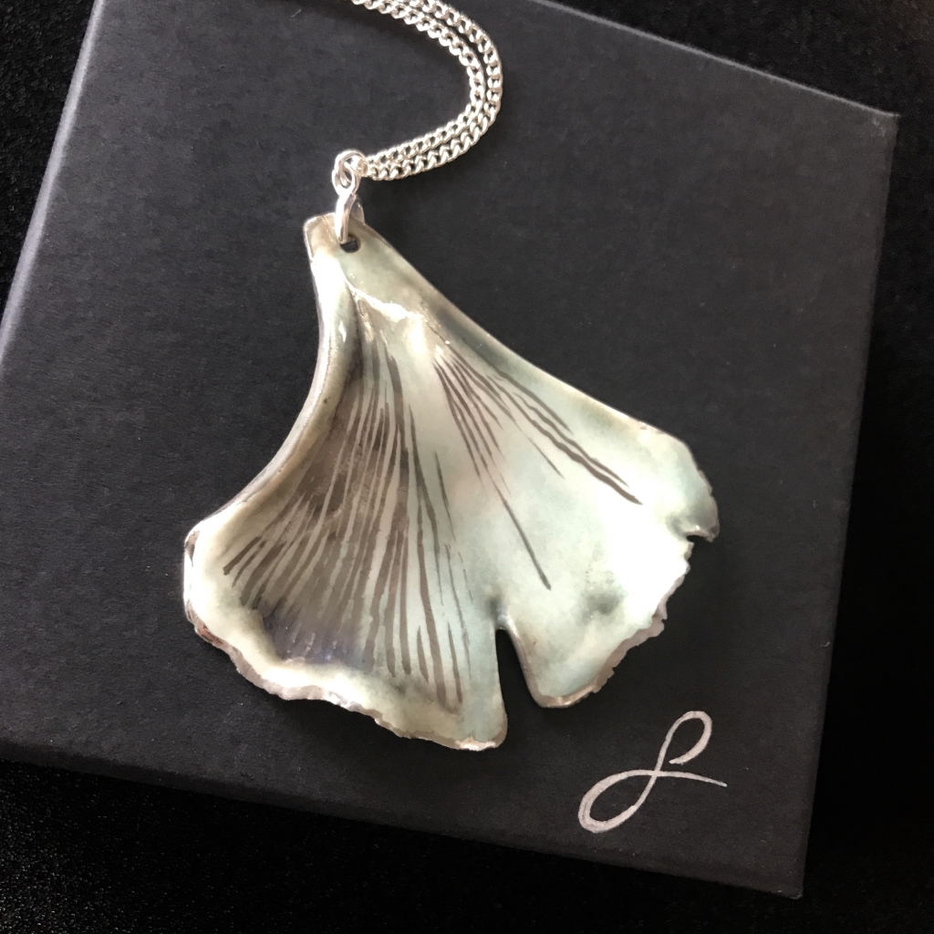 Ginkgo Leaf Pendant with Presentation Box by Sonya Ceramic Art