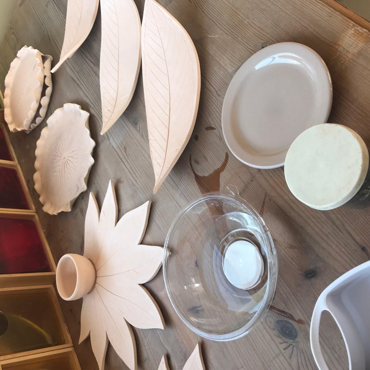 Fatsia Leaf Sharing Platter & Bowl 'Ready for Oxide'