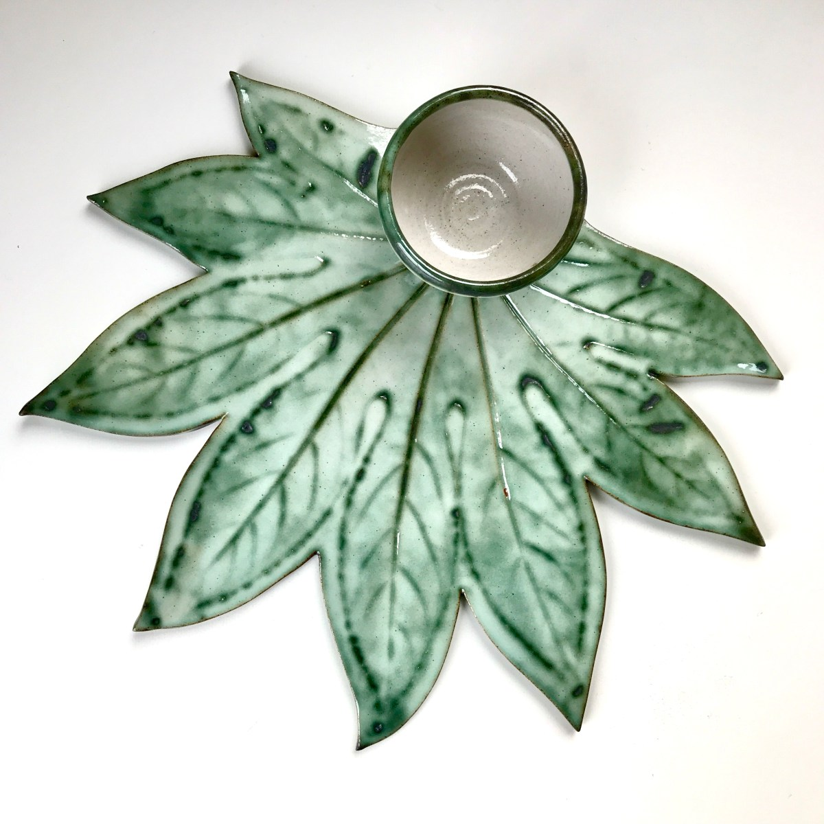 Fatsia Leaf Sharing Platter & Condiment Bowl by Sonya Ceramic Art