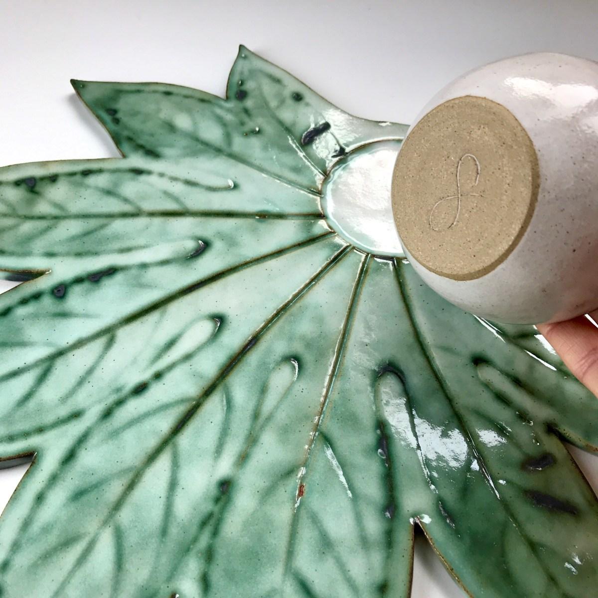 Fatsia Leaf Sharing Platter & Condiment Bowl by Sonya Ceramic Art (Bowl Base View 1)