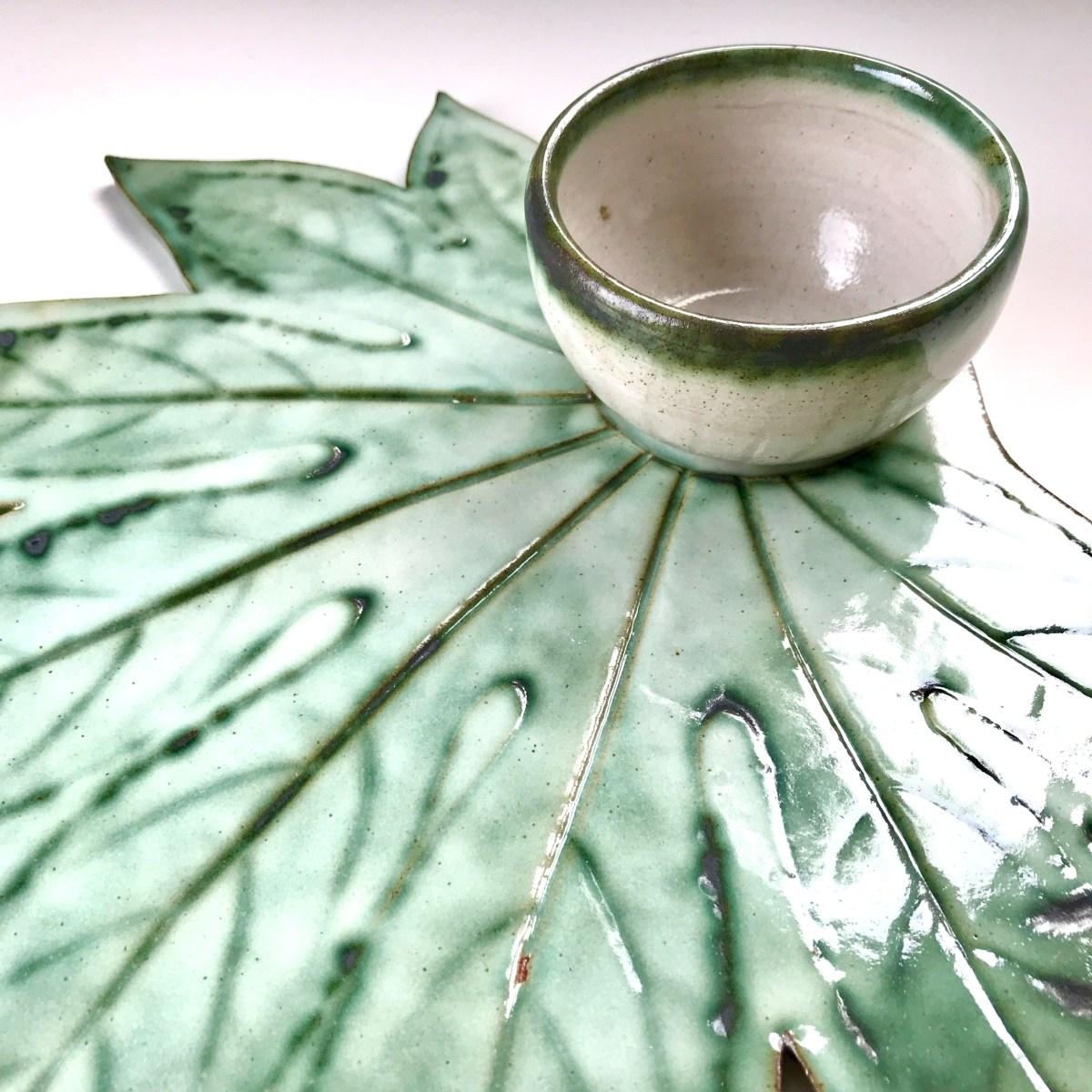 Fatsia Leaf Sharing Platter & Condiment Bowl by Sonya Ceramic Art (Bowl Close Up View)