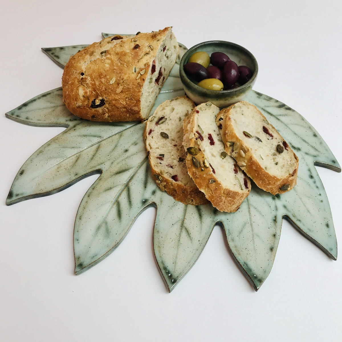 Fatsia Leaf Sharing Platter with Bread & Olives