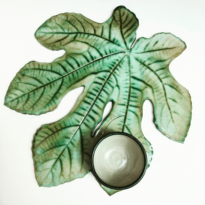 Fig Leaf Sharing Platter by Sonya Ceramic Art Birds Eye View
