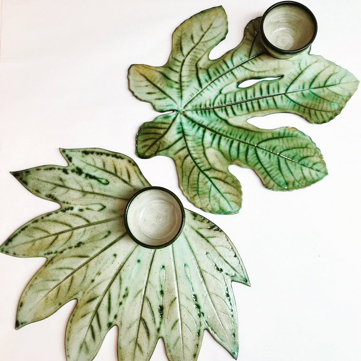 Large Leaf Sharing Platters by Sonya Ceramic Art 2 Designs