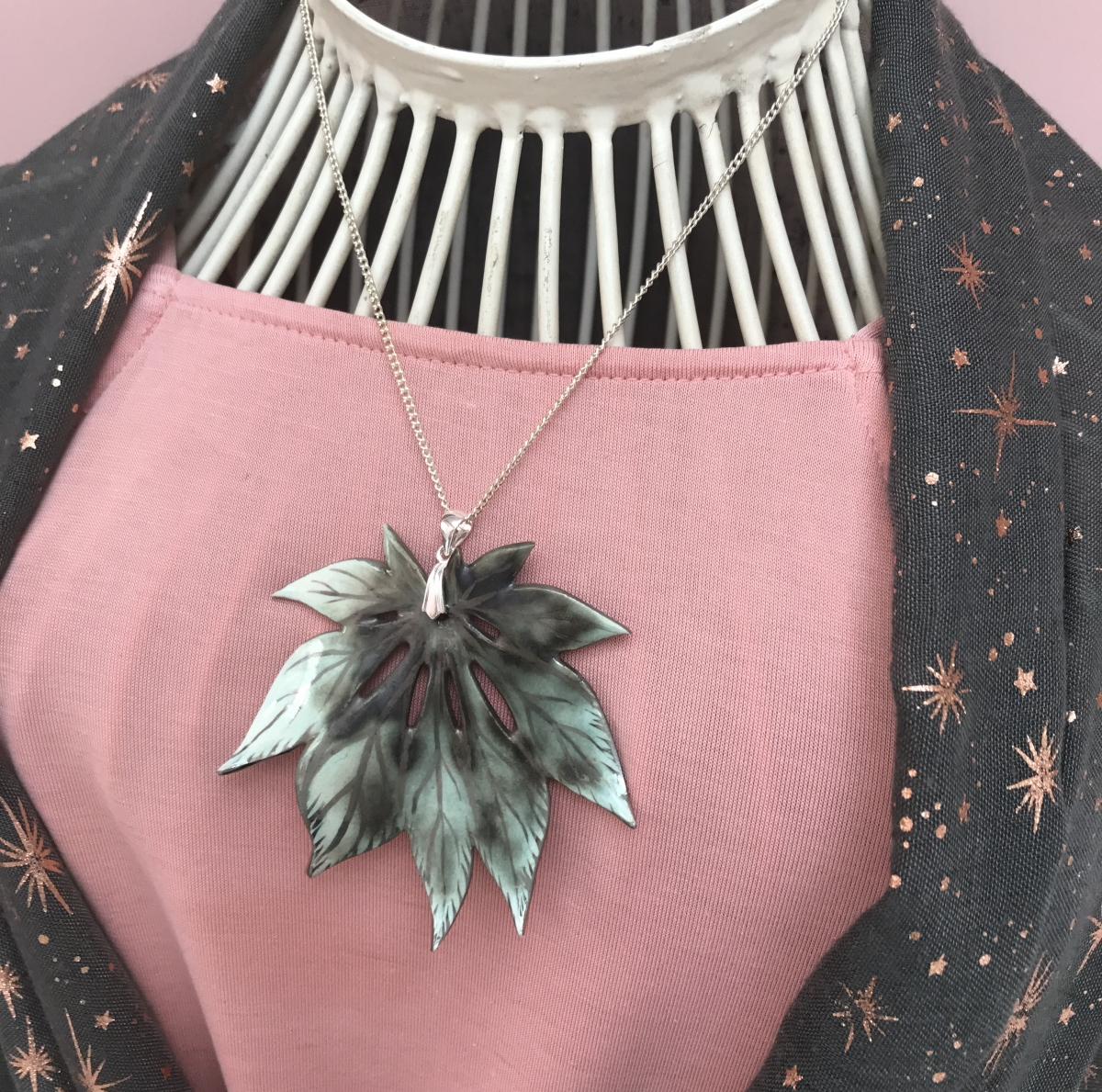 Ceramic Leaf Pendant by Sonya Ceramic Art - Ceramics Inspired By Nature