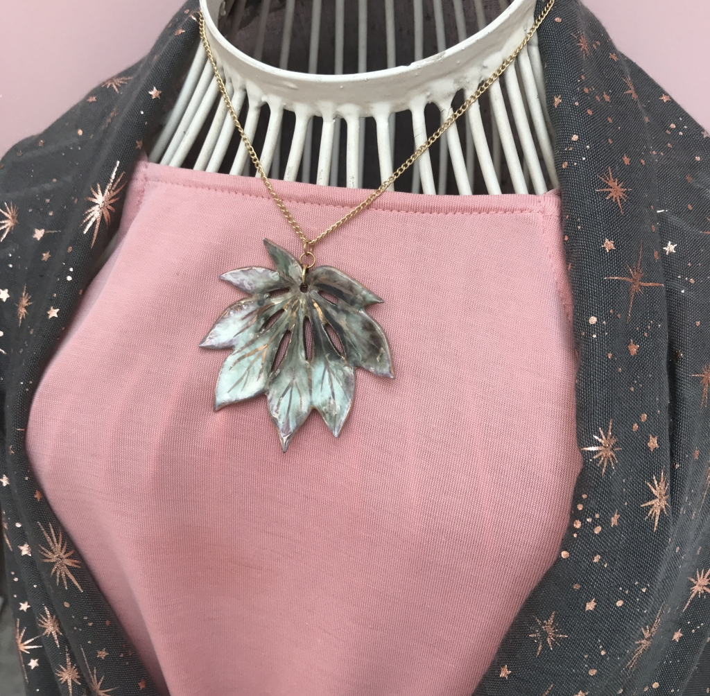 Leaf Pendant made by Sonya Ceramic Art