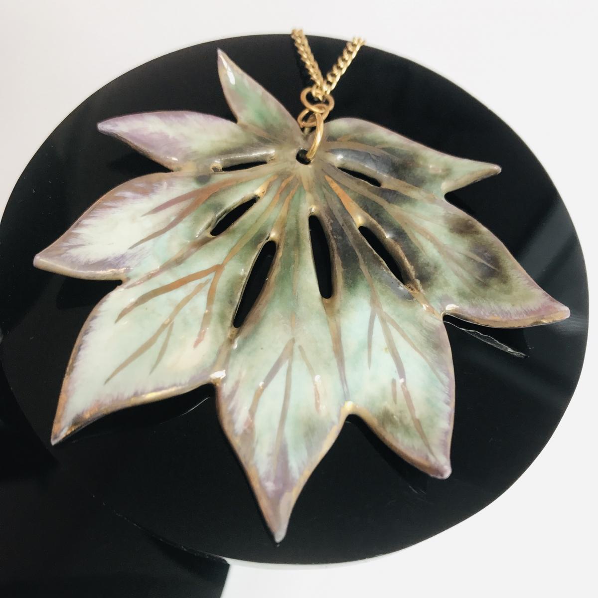 Maple Leaf Pendant Jewellery by Sonya Ceramic Art